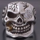 925 STERLING SILVER CRACKED SKULL PIPE CHOPPER MAD BOSS BIKER RING SZ N to Z3