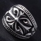 925 Sterling Silver Tribal Cross Rock Biker King Battle Crusader Ring sz N to Z3