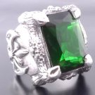KING CLAW STERLING SILVER MEDIEVAL BATTLE AXE GREEN GEM CHOPPER RING sz N - Z3
