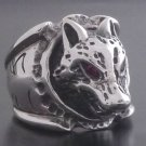 SCARY WOLF GEMSTONE EYE SILVER BIKER RING US 10.25 / U