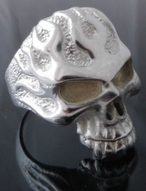 Silver Plated Skull Flame Jaw Biker Chopper Ring sz R1/2, T 1/2, V 1/2 / 9,10,11