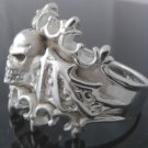 SILVER PLATED BAT WING SKULL ROCK CHOPPER RING sz R 1/2, T 1/2, V 1/2 / 9,10,11