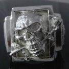 SILVER PLATED SKULL BONE ROSE KING BIKER RING sz R 1/2,T 1/2, V 1/2 - US 9,10,11