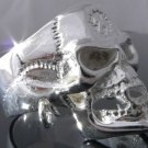 SILVER PLATED PIERCED SKULL JAW BIKER KING RING sz R 1/2, T 1/2, V 1/2 / 9,10,11