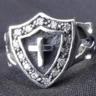 STERLING  TRIBAL GOTHIC CROSS SHIELD BIKER RING SZ N-Z3