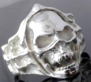 Silver Plated Skull Bone Flame Biker Rebel Ring SZ R 1/2, T 1/2, V 1/2 = 9,10,11