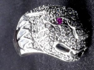 925 SILVER CUSTOM PUMA COUGAR JAGUAR GEMSTONE RING SZ W