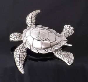 925 STERLING SILVER AQUAMARINE TURTLE LADIES PENDANT