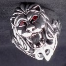 925 STERLING SILVER LION COUGAR CHOPPER BIKER KING RED GEMSTONE RING SZ N to Z3