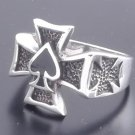 925 SILVER IRON CROSS ACE OF SPADES BIKER RING SZ N-Z3