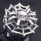925 SILVER IRON SPIDER BIKER GEMSTONE KING RING SZ N-Z3