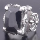 KING CLAW STERLING SILVER MEDIEVAL BATTLE AXE ONYX BIKER CHOPPER RING sz N - Z3