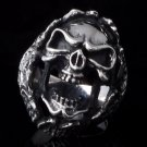 925 STERLING ENCRUSTED SKULL CHOPPER RING sz N to Z3