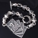 SKULL CARD LINK CHOPPER ROCKSTAR KING BRACELET 8.25,9""