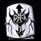 925 SILVER IRON CROSS KING BIKER ARROW MEDIEVAL CHOPPER KING RING SZ N to Z3