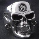 925 STERLING SILVER CUSTOM PIERCED SKULL JAW BIKER KING CHOPPER RING sz N to Z3