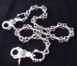 "925 Silver Solid Skull Clasp Crown Link Biker Rockstar Chopper Walletchain 23"""