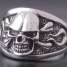 925 Silver Skull Bone Flame Biker Rebel Ring SZ V 1/2
