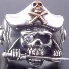 925 SILVER MACHETE PIRATE SKULL GEM BIKER RING SZ N-Z3