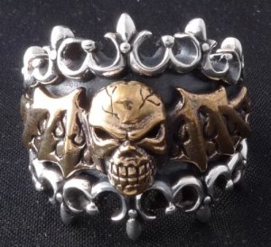 925 SILVER BAT WING SKULL ROCK CHOPPER RING sz N to Z3