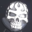 925 Sterling Silver Skull Flame Jaw Biker Chopper Rebel Ring sz N to Z3