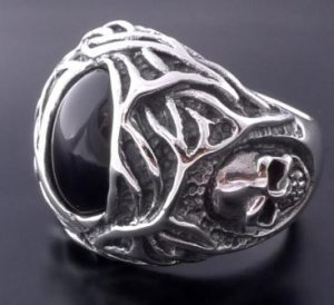 925 SILVER ONYX SKULL TRIBAL CHOPPER RING sz N to Z3