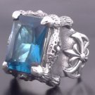 925 SILVER BATTLE AXE CLAW BLUE GEMSTONE BIKER RING sz N to Z3 / US sz 7 to 15