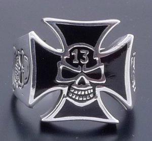 925 SILVER LUCKY 13 SKULL IRON CROSS BIKER RING SZ N to Z3 / US sz 7 to 15