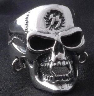 925 STERLING SILVER PIERCED SKULL JAW BIKER KING RING sz N to Z3 / US sz 7 to 15