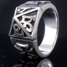 925 Silver Gothic Tribal Cross Biker Rebel Ring sz N to Z3 / US sz 7 to 15