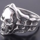 925 Silver Skull Bone Flame Biker Rebel Ring SZ N to Z3 / US sz 7 to 15
