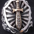 925 STERLING SILVER MEDIEVEL KNIGHT DAGGER GEM RING SZ N to Z3 / US sz 7 to 15