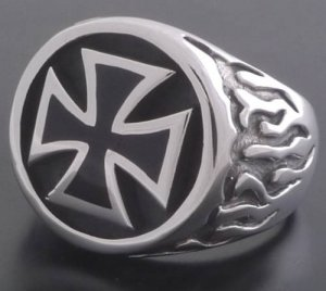 STERLING SILVER MALTESE CROSS FLAME BIKER RING SZ N-Z3 / US sz 7 to 15