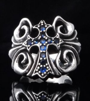 925 Sterling Silver Tribal Gothic Cross Biker Queen Ring sz N to Z3 / US 7 to 15