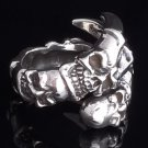 925 SILVER SKULL CLAW BIKER CHOPPER RING SZ N to Z3 / US sz 7 to 15