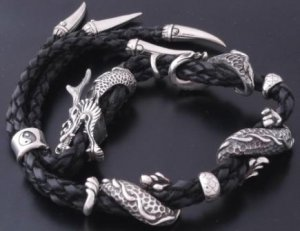925 SILVER & LEATHER DRAGON CLAW BIKER CHOPPER LOWRIDER  ADJUSTABLE BRACELET