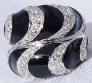 925 STERLING SILVER BLACK ENAMEL ZIRCONIA LADIES RING SZ N1/2, O / US sz 7, 7.25