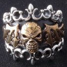 925 SILVER BAT WING SKULL ROCKER CHOPPER RING sz N to Z3 / US sz 7 to 15