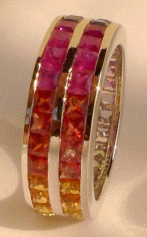 4.5CT Natural Sapphire Multi Color 2 MM 14K Whitegold Ring AU sz M1/2 US sz 6.5