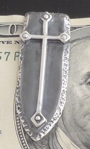 925 STERLING SILVER GOTHIC CROSS SHIELD BIKER CHOPPER ROCKSTAR MONEYCLIP New