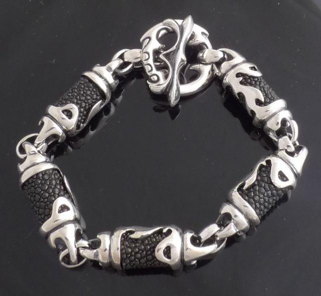 Silver Biker Bracelets In Rubber