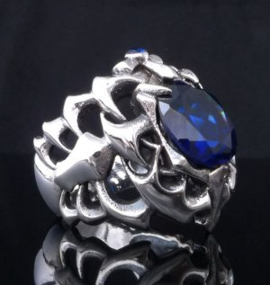925 SILVER STERLING ZIRCONIA GEM TRIBAL BIKER RING AU N to Z3 szUS sz 7 to 15