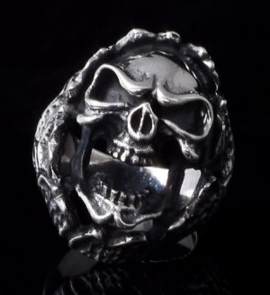 925 STERLING ENCRUSTED SKULL CHOPPER RING AU sz N to Z3 / US sz 7 to 15