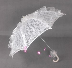 white lace parasol umbrella elegant wedding party
