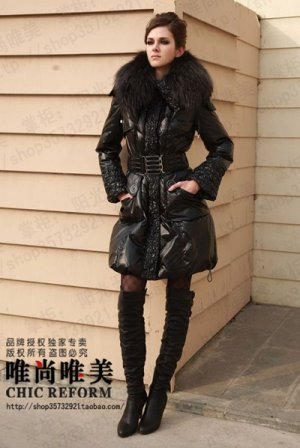 REAL FUR COLLAR WOMEN DELUXE HOODED WINTER LONG DOWN JACKET COAT PARKA