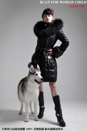 REAL FUR COLLAR WOMEN DELUXE HOODED WINTER LONG DOWN JACKET COAT 01