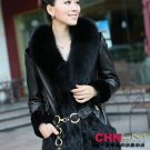 sheep skin+fox fur collar+mink fur middle length Coat