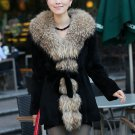 real raccoon collar+rabbit fur middle length Coat P02