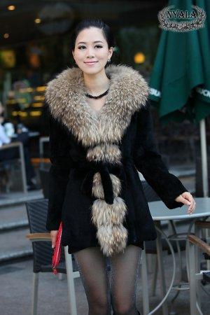 real raccoon collar+rabbit fur middle length Coat P02
