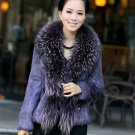 REAL raccoon COLLAR+ rabbit fur WOMEN DELUXE jacket P05